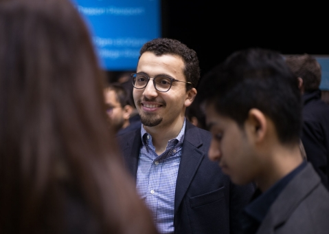 Man smiling at the career fair