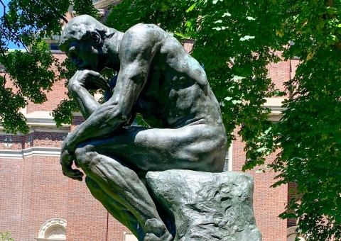 The Thinker statue on campus
