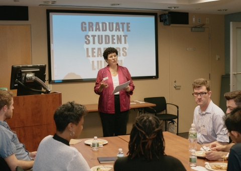 CCE Staff member speaking at Graduate Student Leaders Lunch