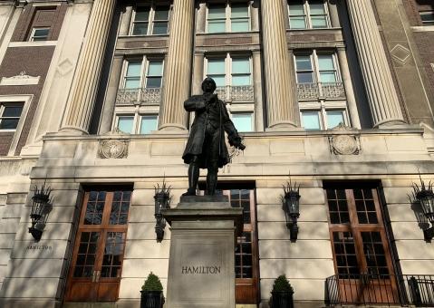 Hamilton statue in front of Hamilton Hall on campus