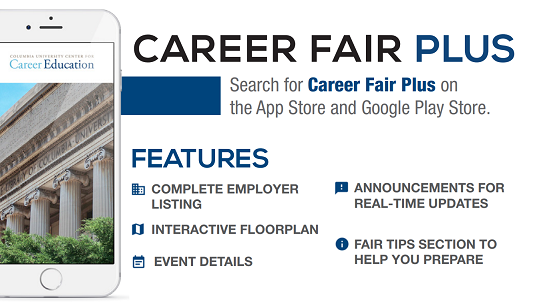Download Career Fair Plus in the Apple Store or Google Play