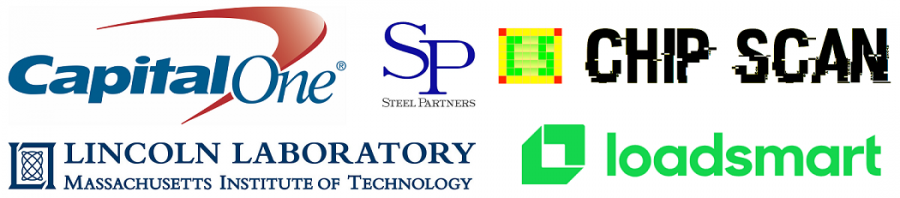 Gold Sponsors: (top left to top right) Capital One, Steel Partners, Chip Scan, (bottom left to bottom right) Massachusetts Lincoln Laboratory, Loadsmart.