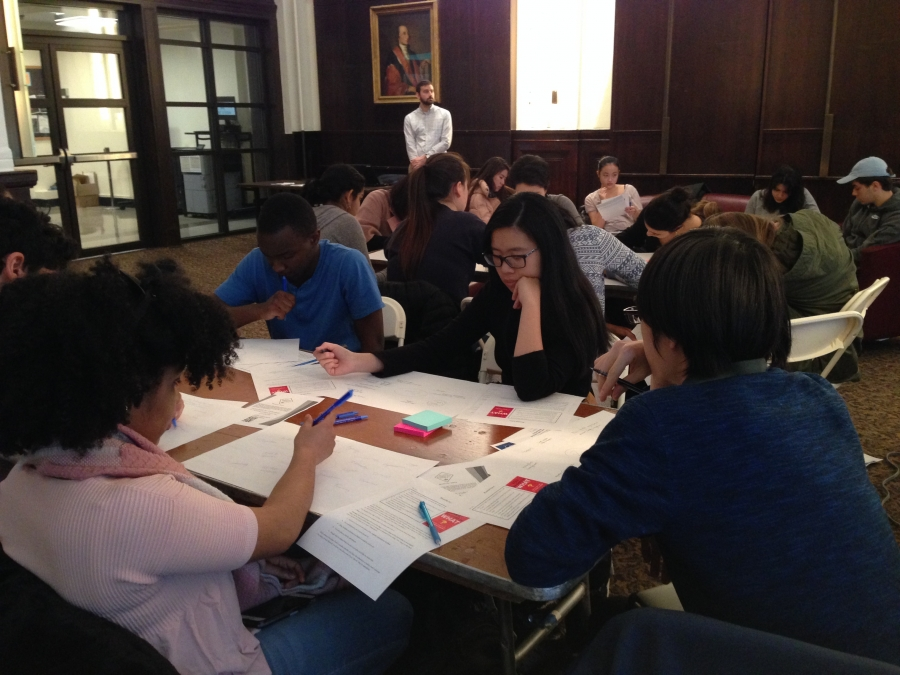 Students participating in workshop held in John Jay