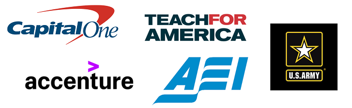 Accenture, American Enterprise Institute, Capital One, Teach for America, US Army NYC Recruiting Battalion